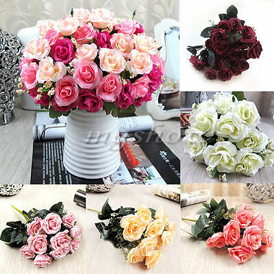 Artificial Rose Silk Flowers 12 Heads Leaf Wedding Party Garden Decoration Fake