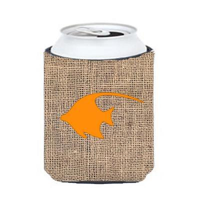Carolines Treasures Fish Angel Fish Burlap and Orange Can or Bottle Hugger