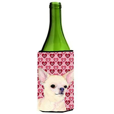 Chihuahua Hearts Love And Valentines Day Portrait Wine bottle sleeve Hugger 2...