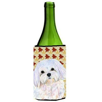 Carolines Treasures Maltese Fall Leaves Portrait Wine bottle sleeve Hugger