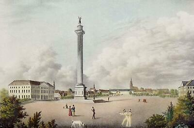 HANNOVER - Waterlooplatz - Waterloosäule - kolorierte Lithographie um 1830