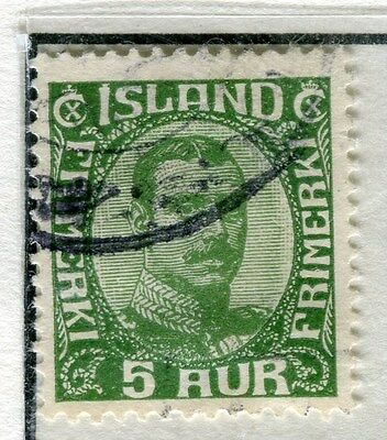 ICELAND;  1920 early Christian X issue fine used 5a. value