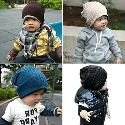 Baby Kids Infant Winter Warm Hat Children Elastic Knitted Soft Beanie Cap 5Color