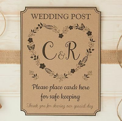 personalised WEDDING POST BOX card SIGN & thank you sign ROMANCE Kraft Card