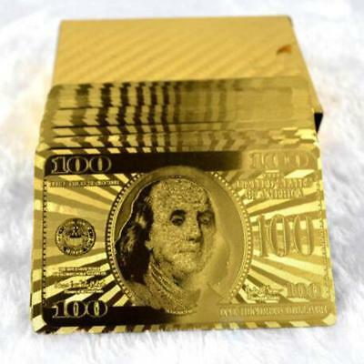 24K Golden Plated Playing Cards Dollar Pattern Luxury Present Collectable