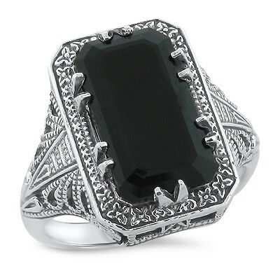 Genuine Black Agate Art Deco .925 Silver Antique Design Ring Size 8,        #765