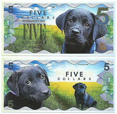 5 Dollars - Black Lab puppy - 2016 UNC (Private Issue - Fantasy Note)