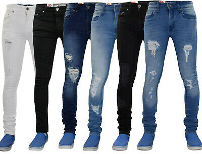 Mens ripped skinny jeans Super Stretch Fit Frayed Denim Trouser Pants All Waists