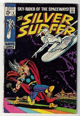 Marvel Comics FN- 5.0 SILVER SURFER  #4 BATTLES THOR CLASSIC Fantastic four 1968