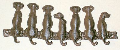 NEW—Adorable Cast Iron Puppy Dog Tails Wall Hook Bar Leashes Keys
