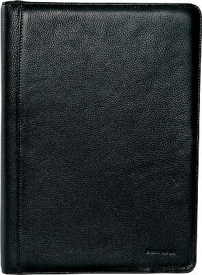 NEW Pierre Cardin Leather A4 Business Folio Compendium | Black Paper Organiser