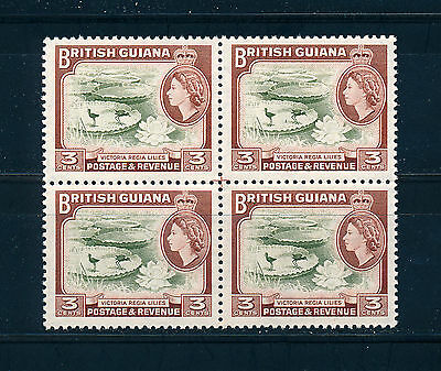 BRITISH GUIANA 1963 DEFINITIVES SG354 (3c) BLOCK OF 4 MNH
