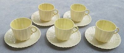 Lot of FIVE Belleek Tridacna Yellow Shell Demitasse Cup and Saucer Sets