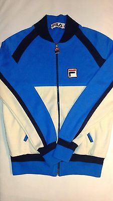 Mens FILA Blue / Beige Zip Front Vintage 70/80s Tracksuit Top Size 34 Small Xmas