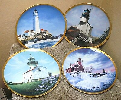 "Set of 4 ""American Lighthouse"" Hamilton Collection Plates - 9"" by Howard Koslow"