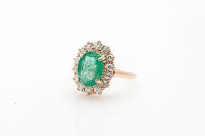 Antique 1920s 6ct Colombian Emerald Old Mine Cut Diamond 14k Gold Halo Ring RARE