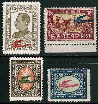 Bulgaria Air Mail 1927 Sc#C1-C4, Red Airplane Overprint, MNH**, Complete Set cp3