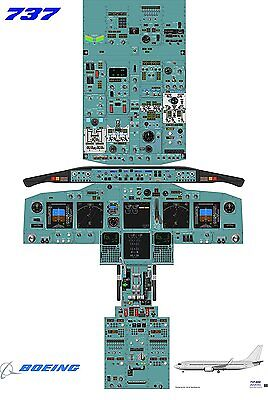 Boeing 737-800 Cockpit poster - A0 size 220 gsm silk paper