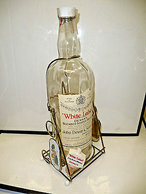 John DEWAR'S & Sons 1 Gal Scotch WHISKY dispenser WHITE LABEL Swing Cradle Stand