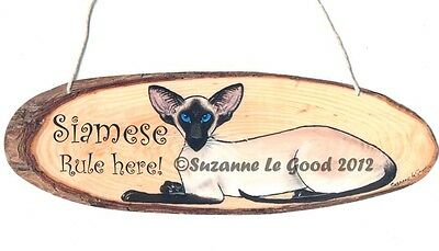 New Siamese Cat Rule Here Painting Laminated Card Hanging Sign Suzanne Le Good