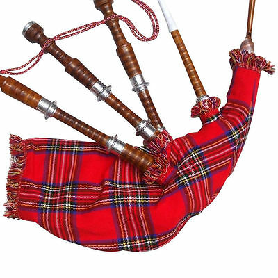 New Scottish Great Highland Bagpipe Sheesham Wood Natural Silver Mounts/Bagpipes