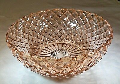"""HOCKING GLASS CO. WATERFORD or WAFFLE PINK 8-1/4"""" DIAMETER LARGE BERRY BOWL!"""