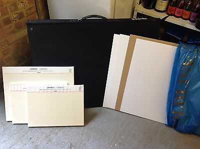 Used A1 Portfolio With Plastic Sleeves, Modelling Card, FoamBoard, Canvas + More