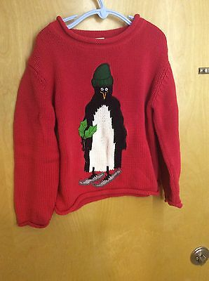 Garnet Hill holiday sweater unisex S Kids red with penguin red used