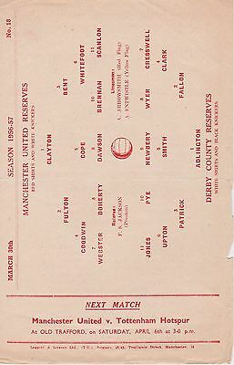 MANCHESTER UNITED v DERBY COUNTY RESERVES ~ 30 MARCH 1957