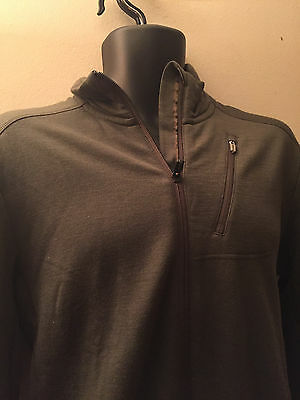 Icebreaker Merino Dark Green Mens Top, Zipped In Front , Size M