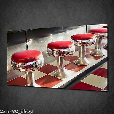 Classic Diner Seats Retro Kitchen Wall Art Canvas Print Picture Ready To Hang