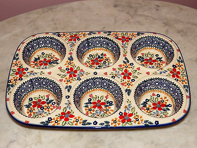 Genuine UNIKAT Artist Signed Polish Pottery Muffin Pan! Rembrandt Pattern!