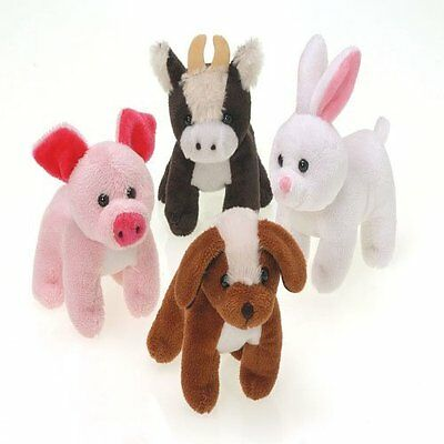 Lot Of 12 Assorted Plush Stuffed Farm Animals