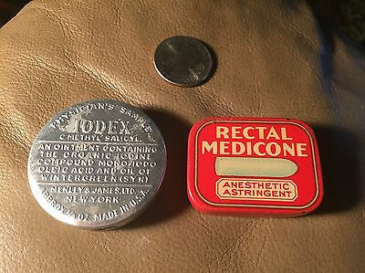 "2 Antique Medicine Tins Physician Sample"" IODEX""& Rectal Suppository Look"