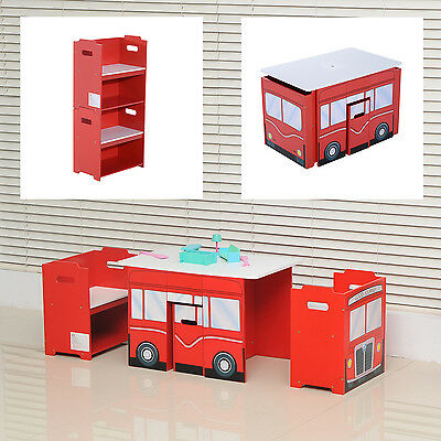 Wooden Bus-like Table and Chairs Set for Kids Children Multifunctional