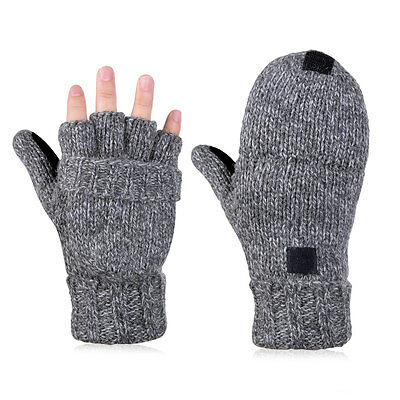 Vbiger Half Finger Winter Gloves Warm Knitted Wool Mittens With Cover Women Men