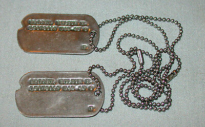 Original WWII US Military Wilbur H. Wright Official Dog Tags