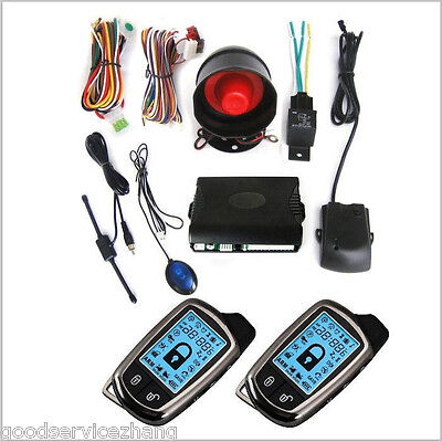 2-WAYS CAR SECURITY ALARM SYSTEM SET/KIT W/SIREN+LCD PAGER Anti-theft Universal