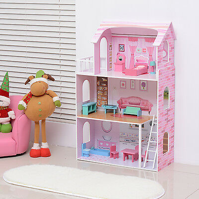 Deluxe Dream House Playset Wooden Kids Doll House With Furniture MDF Pink