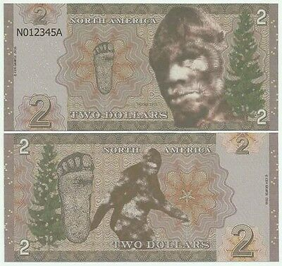 North America - 2 Dollars - 2016 UNC - Sasquatch (Private Issue - Fantasy Note)