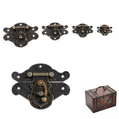 Vintage Antique Bronze Box Latch Hasp + Screws Cabinet Wooden Jewelry Box Lock E