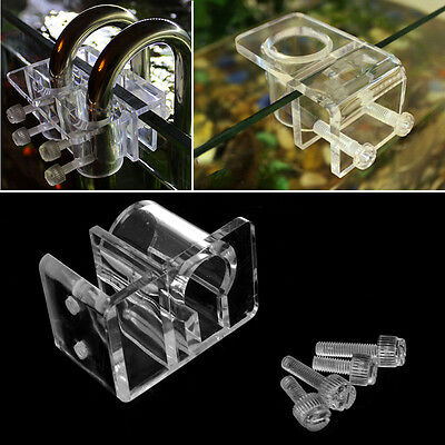 Aquarium Acrylic Fish Tank Filter Outflow Inflow Pipe Water Hose Clip Holder New