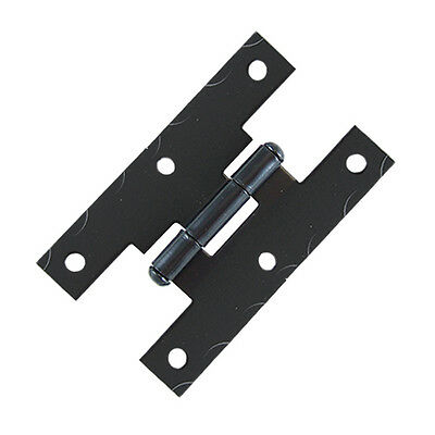 4 Pcs Black Smooth Iron Flush Non-Self Closing H Style Cabinet Hinge, JH001BL