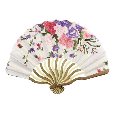 ST Bamboo Flower Printed Japanese Style Foldable Hand Held Fan Gift Deco