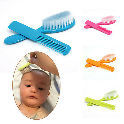 2pcs/set Soft Baby Hairbrush Comb Brush Newborn Massager Grooming Shower Kit New