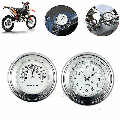 Motorcycle 7/8'' Handlebar Mount Dial Clock Watch Thermometer Gauge Universal