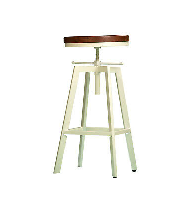 2x Metal Bar Stool NYX Kitchen Chair Swivel Adjustable Stools WHITE Industrial