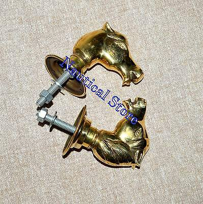 Animal Head Figurine Brass Door Handle Home Decor New