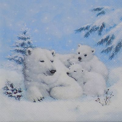 "Winter Polar Bears Blue White 3-Ply 20 Paper Napkins Serviettes 13""X13""-33X33Cm"