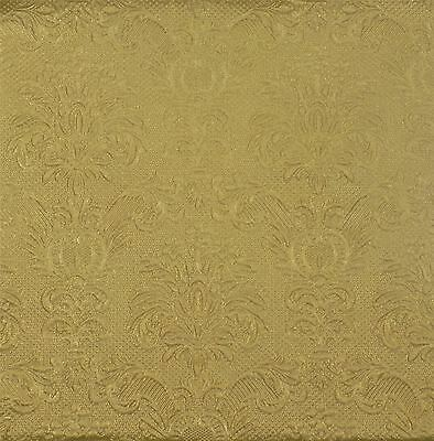 "Embossed Damask Gold 3-Ply 20 Paper Napkins Serviettes 13""X13""-33X33Cm"